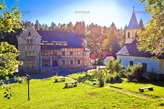Mountain village of Stara Susica church and historic architecture view