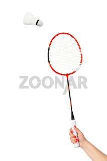 Hand with badminton racket