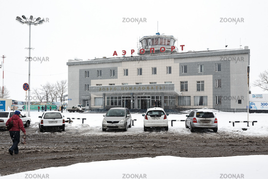 Winter view of airport terminal Petropavlovsk-Kamchatsky. Russia, Far East, Kamchatka
