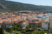Panoramic view of Cres town on island of Cres, Adriatic sea, Croatia, Europe