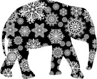 Christmas card elephant in snowflakes on a white background