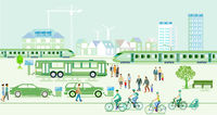 Ecological city with electric vehicles and express trains