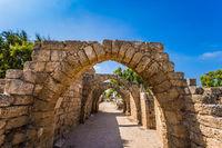 Picturesque ruins of the ancient seaport Caesarea