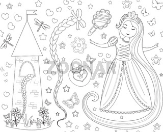 Rapunzel seamless pattern. Princess repeating texture, endless backdrop backdrop. illustration