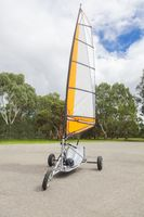 Empty blokart for land sailing in a park