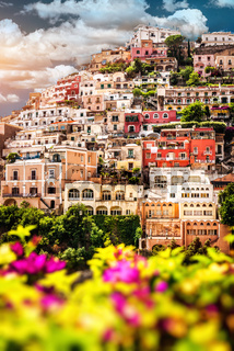 View of Positano. Positano is a small picturesque town on the famous Amalfi Coast in Campania, Italy.