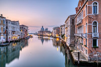 Beautiful morning light at the Grand Canal and the Basilica Di Santa Maria Della Salute in Venice