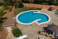 Swimming pool and garden from above