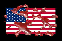 Blood on USA flag design background illustration
