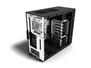 Modern system block blank for computer assembly perspective 3d rendering on white background with shadow