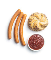 Fresh frankfurter sausages, ketchup and bun