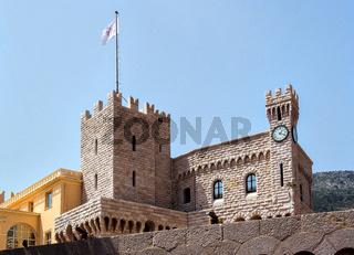 art of Prince's Palace of Monaco over blue sky background. Official residence of the Prince of Monaco.