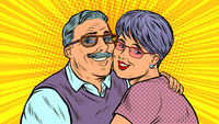 Elderly couple in love, grandparents