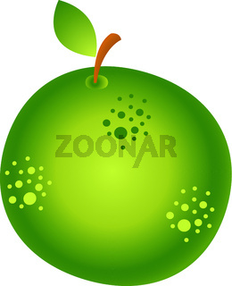 Apple. Healthy eating. Exotic tropical fruit. Vector illustration isolated on white.