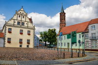 niemegk, germany - 17.07.2019 - town hall and johannis church