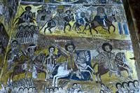 Kaiser Johannes IV. auf dem weissen Ross und sein Bruder Dejazmach Maru auf dem braunen Ross reiten im Galopp in die Schlacht gegen die Ägypter