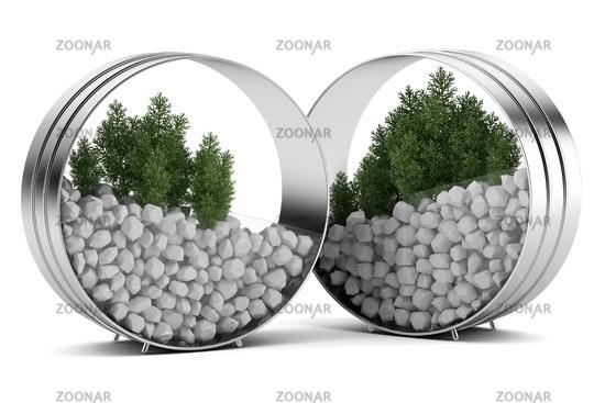 two houseplants in metallic pots isolated on white