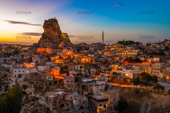 Ortahisar natural rock castle and town, Cappadocia, Turkey.