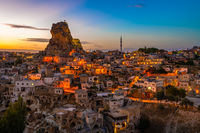 Ortahisar natural rock castle and town, Cappadocia, Turkey.