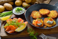 Potato pancakes with salmon and quark