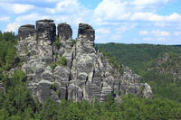 Landscape with sandstone mountains in Rathen