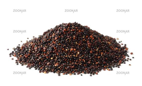 Pile of black quinoa seeds