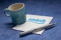 minimize note on napkin, minimalism concept