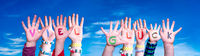 Kids Hands Holding Word Viel Glueck Means Good Luck, Blue Sky