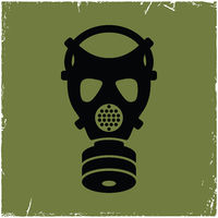 Gas mask on old background with effect of scratches.