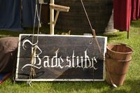 medieval bathtub Shield festival knight bath bucket broom