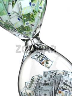 Stock exchange. Hourglass, dollar and euro.