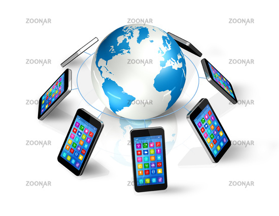 Smartphones Around World Globe, Global Communication
