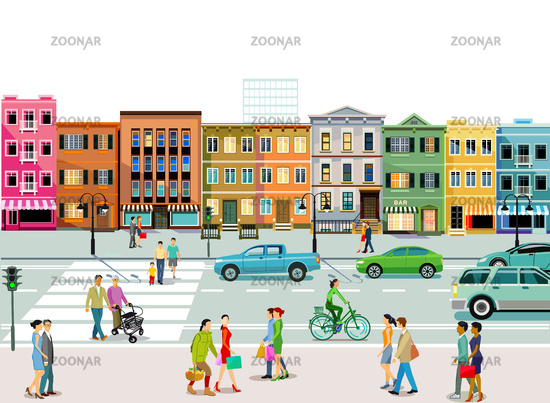 City with road traffic, apartment buildings and pedestrians on the sidewalk
