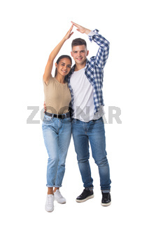 Happy couple with roof house gesture