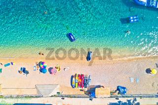 Aerial view of Idyllic beach in Orebic, Croatia