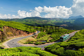 Passenger bus on road in tea plantations, India