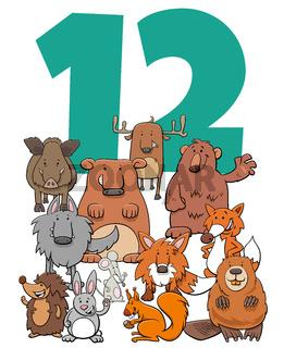 number twelve and cartoon wild Animals group