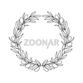 Olives branches wreath. Greek frame vector illustration.