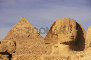 The Sphinx and Pyramid of Khafre, Cairo, Egypt