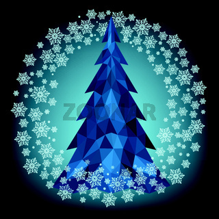 Christmas polygonal Christmas tree in blue with snowflakes