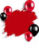 Sale Poster With Red And Black Balloons