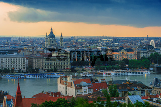 Panoramic view of Budapest with St. Stephen's Basilica after sunset