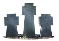 Gray granite crosses at the old military cemetery isolated