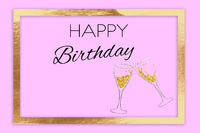 The words Happy Birthday on a pink background with golden frame