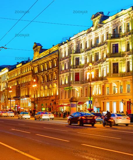 Nevsky night cityscape, Saint Petersburg