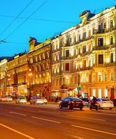 Nevsky night cityscape, Saint Petersburg