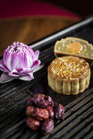 traditional chinese mooncakes festive sweet food closeup