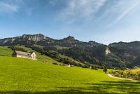 View of the mountain Hoher Kasten, Bruelisau, Canton of Appenzell-Innerrhoden, Switzerland