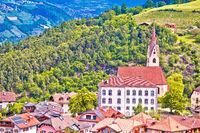 Dolomites. Idyllic alpine village of Gudon architecture and landscape view