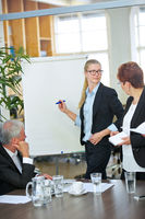 Business Frau hält Präsentation am Flipchart